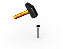 Hammer and a nail. Royalty Free Stock Photography