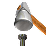 Hammer and nail. 3d image of hammer and nail Royalty Free Stock Images