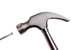 Hammer and Nail. Hand made clipping path included Royalty Free Stock Photography