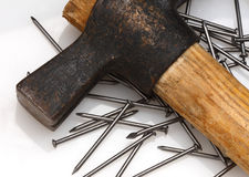 Hammer and nail background Stock Photo