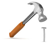 Hammer  and nail (clipping path included) Stock Photography