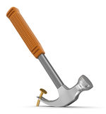 Hammer  and nail (clipping path included) Royalty Free Stock Images