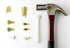 Hammer Nail and hook Home decoration equipment. Royalty Free Stock Photos