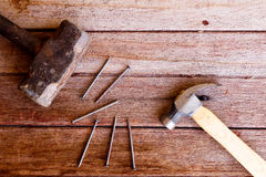 Hammer with nail Royalty Free Stock Photo