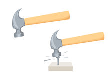 Hammer a nail. Royalty Free Stock Photography