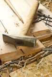 Hammer and nails. Are on a wooden planks Royalty Free Stock Photos
