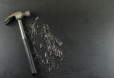 Hammer with nails Royalty Free Stock Photography