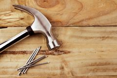 Hammer and nails. On wood Royalty Free Stock Images