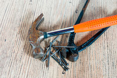 Hammer, nails and mites Royalty Free Stock Image