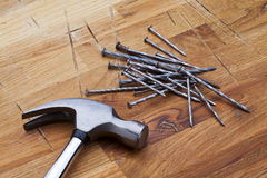 Hammer and nails. Photos of hammer and nails Stock Photos