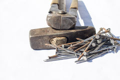 Hammer, nails and pliers Royalty Free Stock Photos