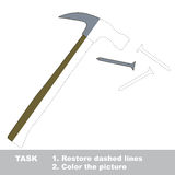 Hammer and nails to be colored. Vector trace game. Stock Photography