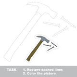 Hammer and nails to be traced. Vector trace game. Stock Photo