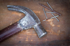 Hammer and nails. Stock Photos