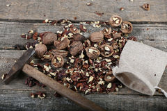 Hammer and nuts Royalty Free Stock Photography