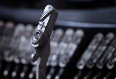 9 hammer - old manual typewriter - cold blue filter Royalty Free Stock Photos