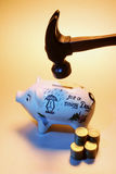 Hammer over Piggy Bank Royalty Free Stock Photo