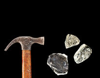 Hammer and pieces of glass Stock Images