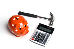 hammer with piggy bank Stock Photography