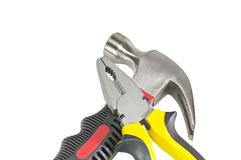 Hammer and pliers isolated Stock Image