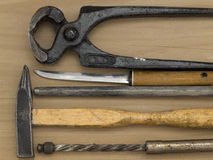 Hammer, pliers and other work tools Royalty Free Stock Photography