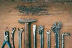 Hammer, pliers and wrenches old Stock Image