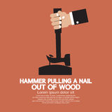 Hammer Pulling a Nail Out of Wood Stock Image