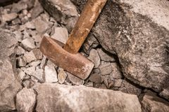 Hammer in a quarry closeup Royalty Free Stock Photography