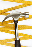 Hammer and ruler Royalty Free Stock Photography