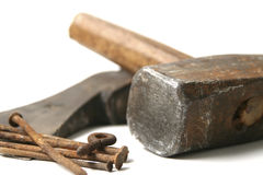 Hammer and rusty nails Royalty Free Stock Photo