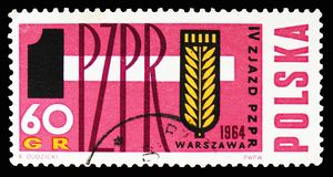 Hammer and rye, 4th Congress of the Polish United Workers Party serie, circa 1964. MOSCOW, RUSSIA - SEPTEMBER 15, 2018: A stamp printed in Poland shows Hammer stock image