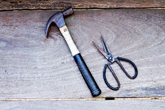 Hammer and scissors Stock Photo