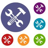 Hammer and screw wrench icons set Stock Photography