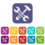Hammer and screw wrench icons set Royalty Free Stock Image