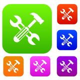 Hammer and screw wrench set collection Royalty Free Stock Photo