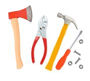 Hammer, screwdriver, ax and wrenches isolated on white Stock Image