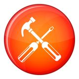 Hammer and screwdriver icon, flat style Stock Photo