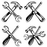 Hammer and screwdriver and wrench set icon Royalty Free Stock Photography