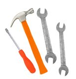 Hammer, screwdriver and wrenches isolated Royalty Free Stock Photography