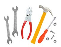 Hammer, screwdriver and wrenches isolated Royalty Free Stock Photo