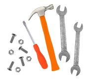 Hammer, screwdriver and wrenches isolated on white Stock Photos
