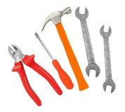 Hammer, screwdriver and wrenches isolated on white. Background Royalty Free Stock Photos