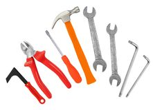 Hammer, screwdriver and wrenches isolated on white Royalty Free Stock Photography