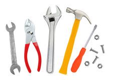 Hammer, screwdriver and wrenches isolated on white. Background Royalty Free Stock Photography