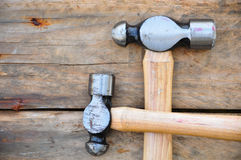 Hammer set of hand tools or basic tools on wooden background Royalty Free Stock Image