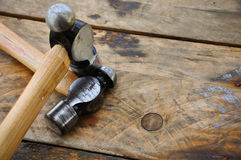 Hammer set of hand tools or basic tools on wooden background Royalty Free Stock Photo