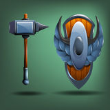 Hammer and shield. Stock Images