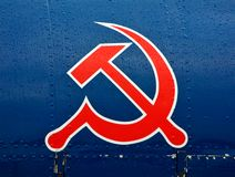 Hammer and sickle. On an military airplane stock photography