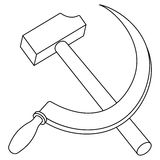 Hammer and sickle contour Royalty Free Stock Photos