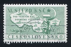 Hammer and sickle. CZECHOSLOVAKIA - CIRCA 1958: stamp printed by Czechoslovakia, shows Map, hammer and sickle, circa 1958 royalty free stock photo